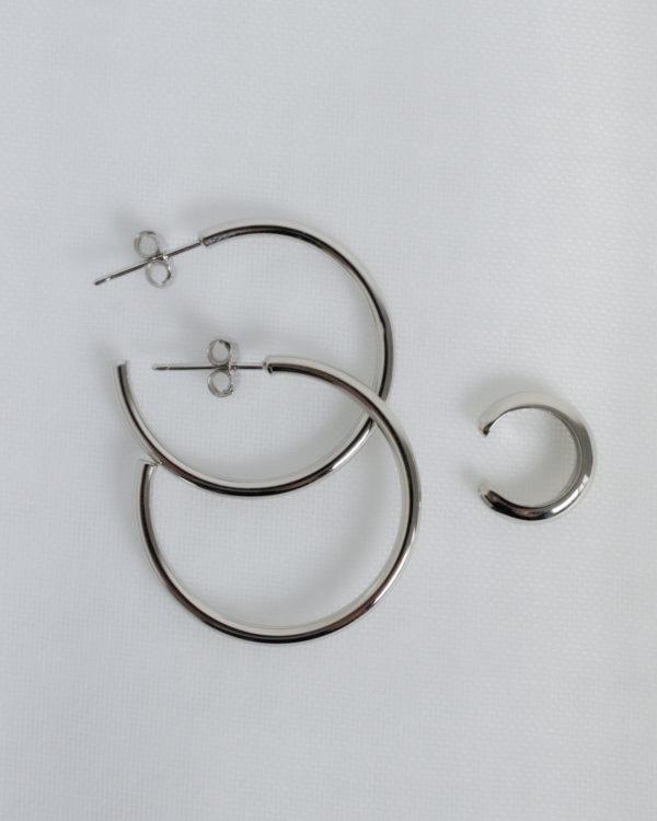 Produktabbildung: Set Simple Hoop und Simple Earcuff Silber