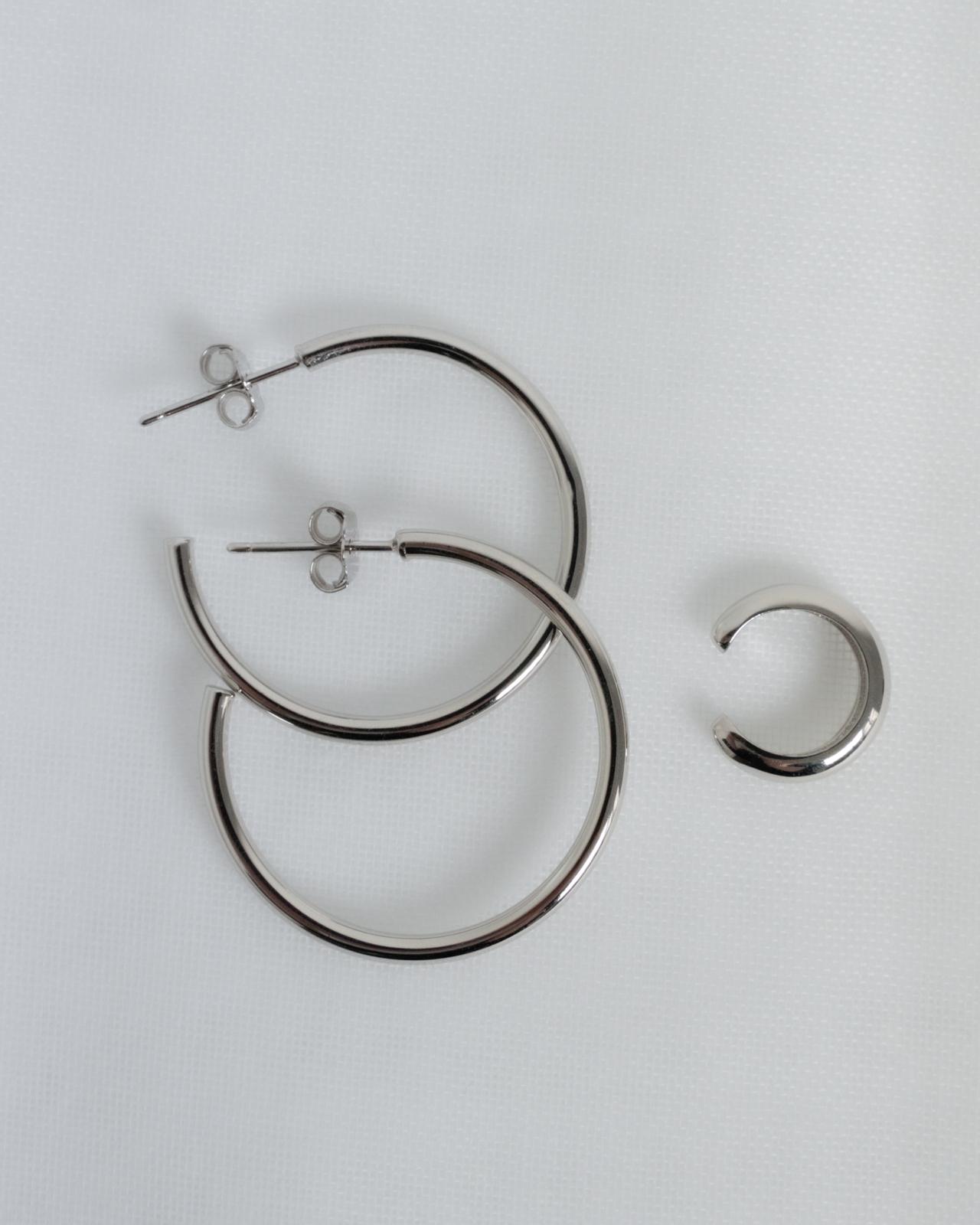 Varianten: Set Simple Hoop und Simple Earcuff Silber